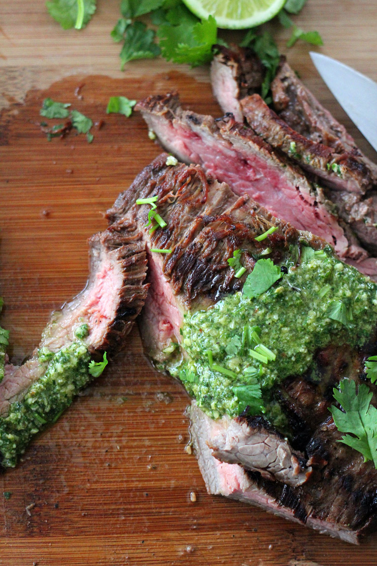 Flank Steak with Pepita Lime Chimichurri Sauce - Wright Family Table