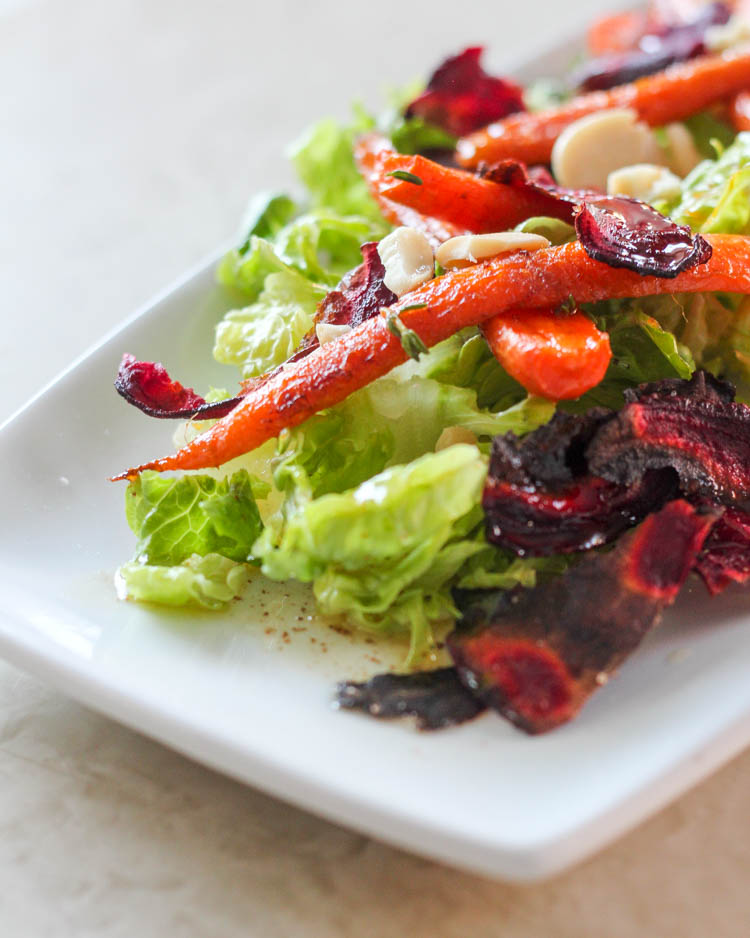 Roasted Carrot, Beet Chip, & Marcona Almond Salad with Brown Butter ...