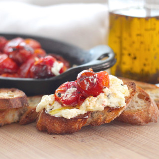 Chili Oil Baked Goat Cheese with Roasted Cherry Tomatoes