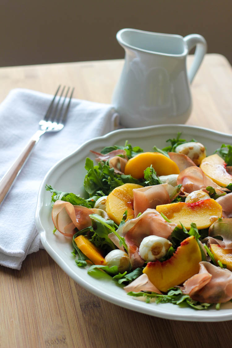 Peach, Prosciutto, and Mozzarella Salad - Wright Family Table