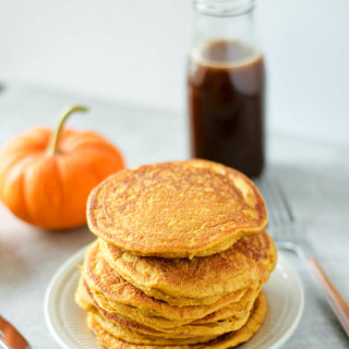 Pumpkin Pancakes with Apple Cider Buttermilk Syrup