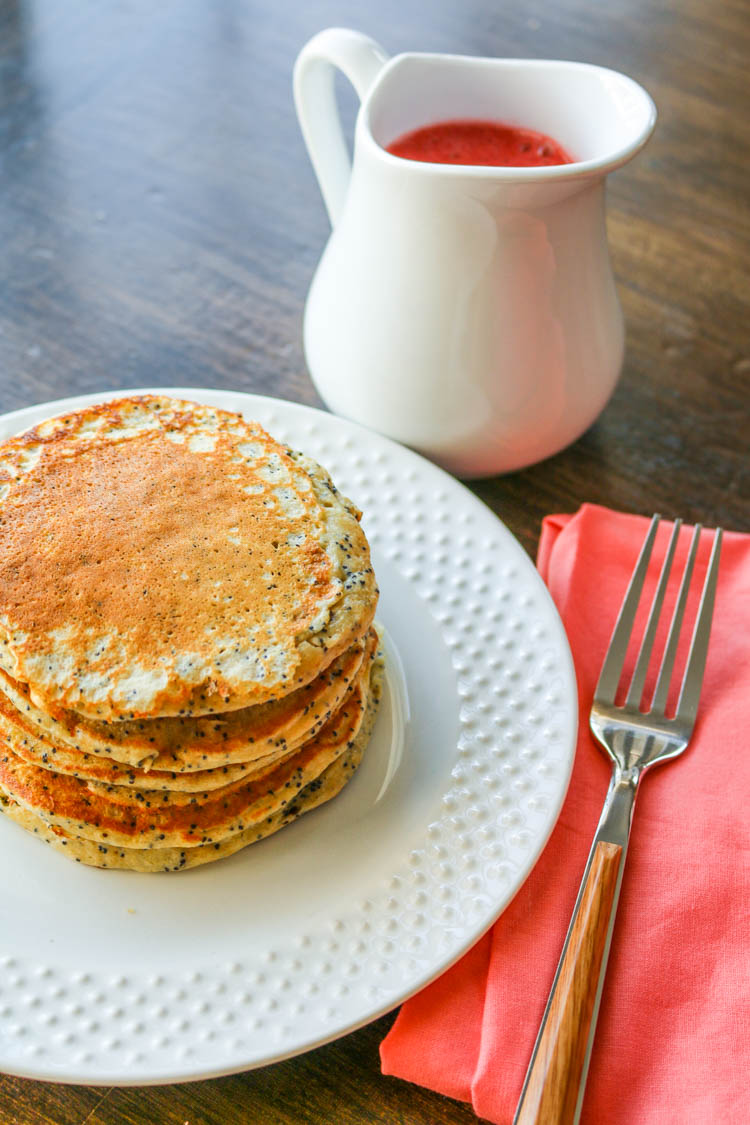 Lemon Poppy Seed Pancakes with Strawberry Sauce - Wright Family Table