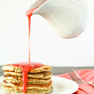 Lemon Poppy Seed Pancakes with Strawberry Sauce