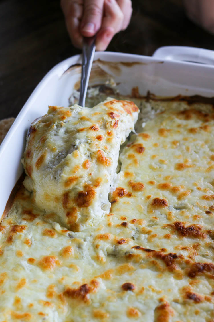Spinach and Jalapeño White Chicken Enchiladas-4