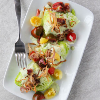 Fried Shallot & Bacon Wedge Salad with Avocado Buttermilk Dressing